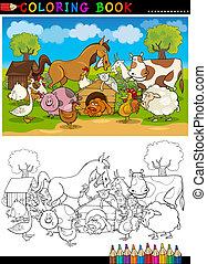 fattoria, coloritura, animali, bestiame
