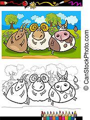 fattoria, coloritura, animali, cartone animato, pagina