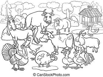 fattoria, coloritura, animali, libro, cartone animato