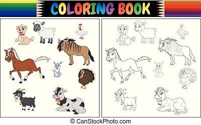 fattoria, coloritura, animali, libro, collezione