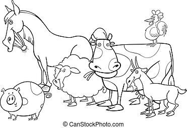 fattoria, coloritura, animali, libro