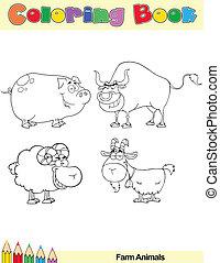 fattoria, coloritura, animali, libro, pagina