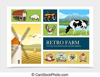 fattoria, composizione, retro, mano, disegnato