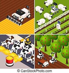 fattoria, concetto, set, far male, icone