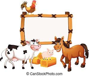 fattoria, cornice, animali, sagoma