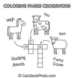 fattoria, cruciverba, coloritura, animali, libro
