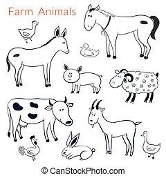 fattoria, differente, set, animali, vettore