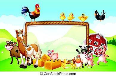 fattoria, disegno, cornice, animali