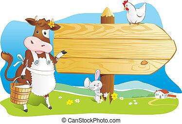 fattoria, divertente, animali, cartello, legno