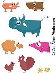 fattoria, divertente, animali, cartone animato
