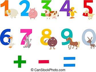fattoria, educativo, set, animali, numeri