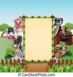 fattoria, felice, vuoto, animali, segno