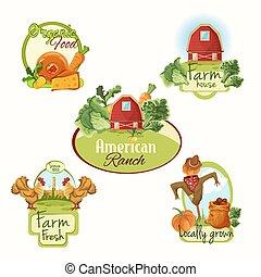 fattoria fresca, etichette, set, colorato