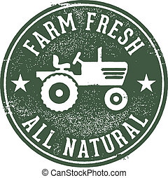 fattoria fresca, naturale, francobollo