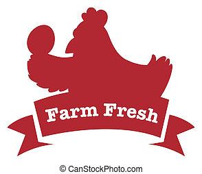 fattoria fresca, pollo, rosso, etichetta