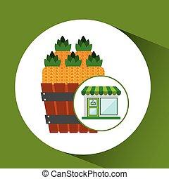fattoria fresca, prodotto, negozio, ananas