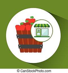 fattoria fresca, secchio, mele, negozio