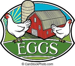 fattoria fresca, uova, etichetta