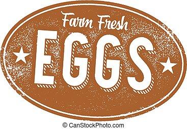 fattoria fresca, uova, vendemmia, segno