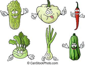 fattoria fresca, verdura, cartone animato, isolato