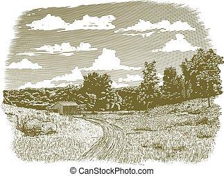 fattoria, goodnight, woodcut