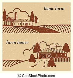 fattoria, grunge, campagna, vendemmia, -, scena, case, disegno, emblema, paesaggio