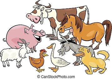 fattoria, gruppo, cartone animato, caratteri, animale