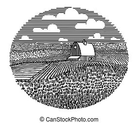 fattoria, icona, campo