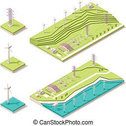 fattoria, isometrico, vento