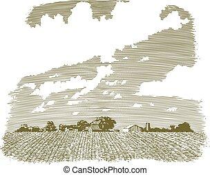 fattoria, kansas, woodcut
