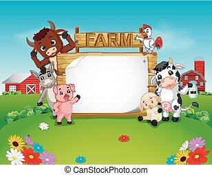 fattoria, legno, animali, collezione, segno