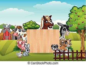 fattoria, legno, animali, segno bianco