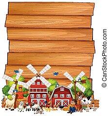 fattoria, legno, set, animale, isolato, segno bianco