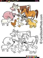 fattoria, libro colorante, animali, cartone animato