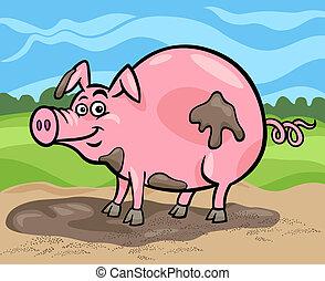 fattoria, maiale, cartone animato, illustrazione, animale