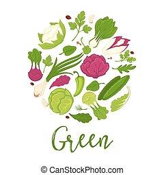 fattoria, manifesto, verdura, dieta, erbe, helathy, vettore, verde, fresco, insalate