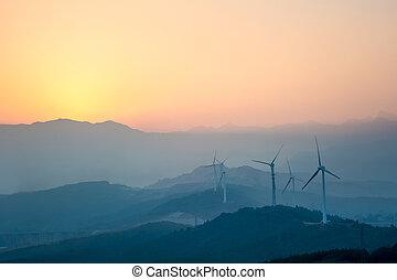 fattoria, montagne, distante, vento
