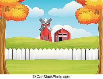 fattoria mulino vento, cartone animato, paesaggio, granaio