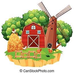 fattoria mulino vento, scena, legno, granaio rosso