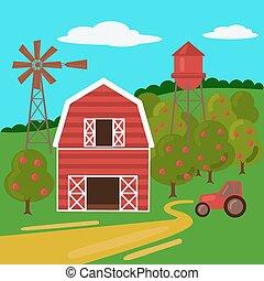 fattoria mulino vento, trattore, paesaggio, granaio