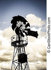 fattoria, mulino vento, vecchio