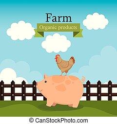 fattoria, organico, prodotti, scena, etichetta