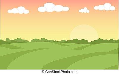 fattoria, paesaggio., fattoria, paesaggio, illustration., campo azienda agricola, fondo., fattoria, alba, fondo., vettore, illustrazione