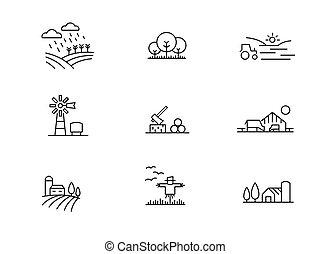fattoria, paesaggio, icone