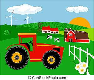 fattoria, paesaggio, illustrazione