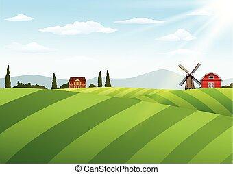 fattoria, paesaggio, windmi, granaio