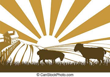 fattoria pecora, agnelli, silhouette, o