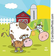 fattoria, poco, vitello, scena, mucca