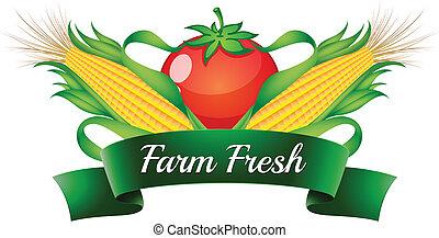fattoria, pomodoro, sweetcorns, fresco, etichetta