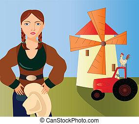 fattoria, ragazza